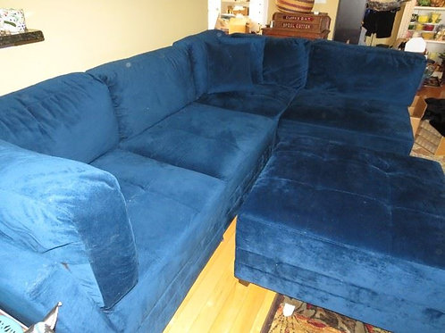 "VTG Blue velour pit style sofa 5 pcs, each pc measures appr. 38"" deep x 35"" wide"