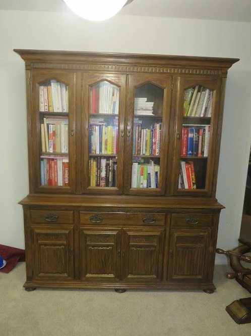 """Ethan Allen Solid Oak Royal Charter China Cabinet, 66""""W x 80""""T, VG condition"""