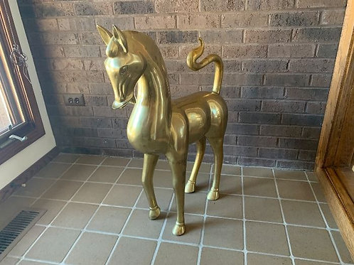 Large Brass Horse , 3' has repair on tail