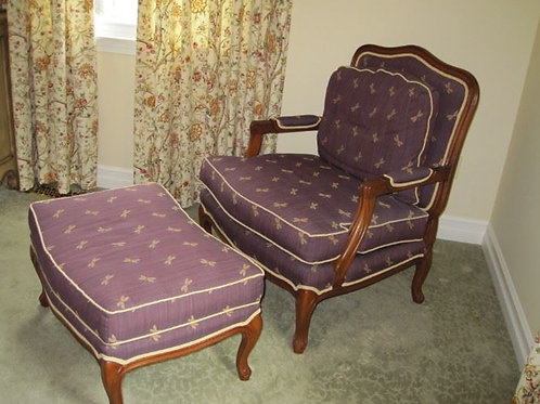 Pair, Fabulous Henredon down occasional chair & ottoman dragonfly print
