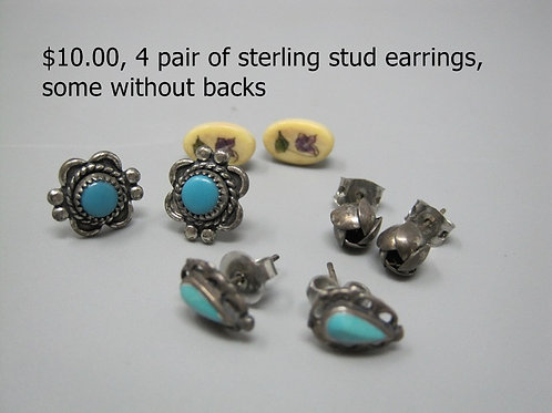 4 PAIR OF STERLING STUD EARRINGS, SOME WITHOUT BACKS
