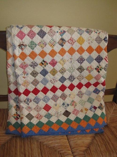 "Vintage quilt, hand stitched excellent condition 87 x 74"""