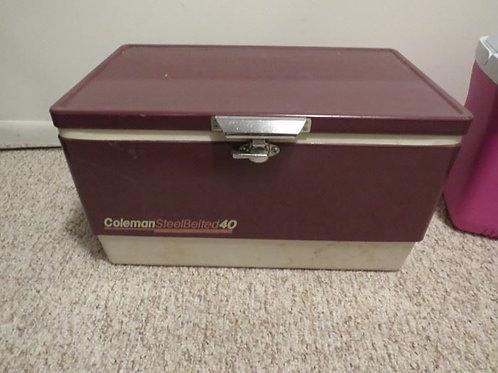 Vintage Coleman cooler steel belted 40, vg condition