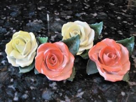 4 Herend Hungary porcelain roses