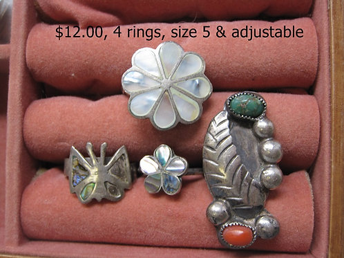 4 RINGS, SIZE 5 & ADJUSTABLE