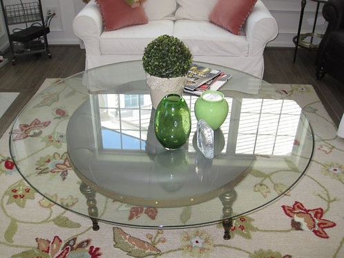 """54"""" across round Pottery barn round leather seat with glass top"""