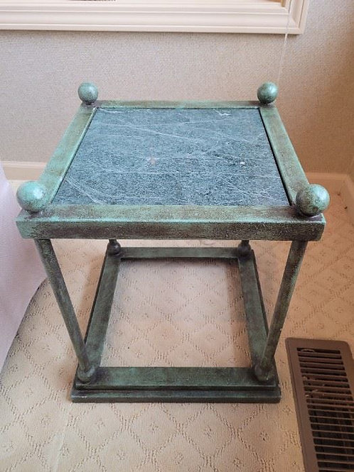 """Square cast metal and granite table 15 x 18"""" tall"""