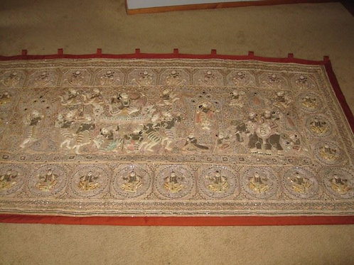 Large Gold & Silver Asian Wall weaving excellent condition!!