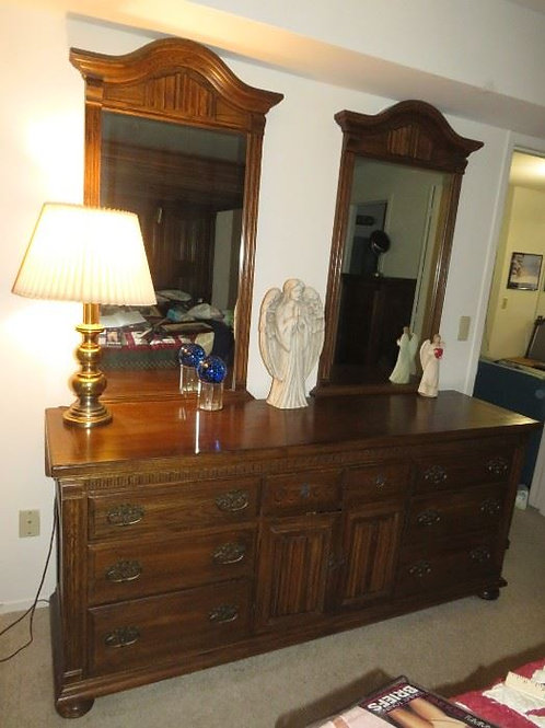 """Ethan Allen Solid Oak Royal Charter Collection dresser & mirrors, 74"""" W"""