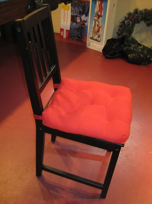 set of six very sturdy black wood chairs