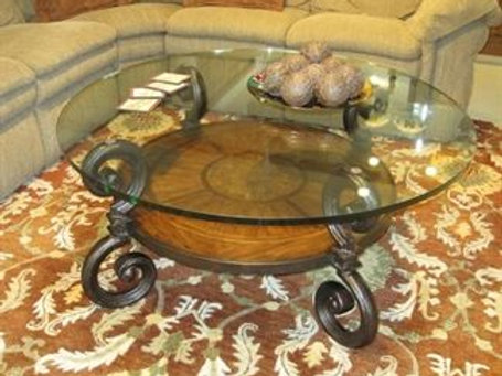"46"" across x 21"" tall, Round glass top coffee table"