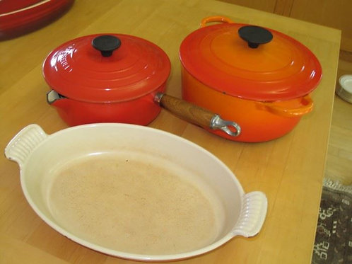 "Three le Creuset bakeware , 9 & 8"" kettle, shows wear"