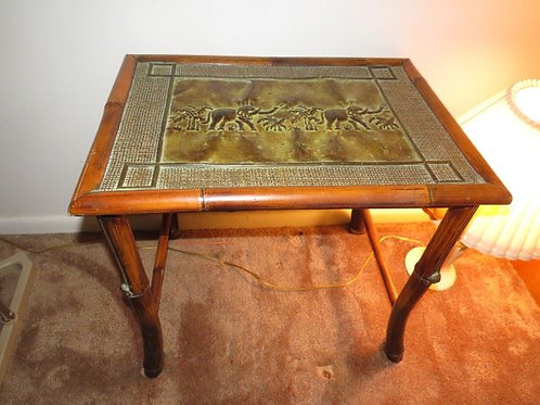 """Metal top bamboo table VG condition 30"""" T"""