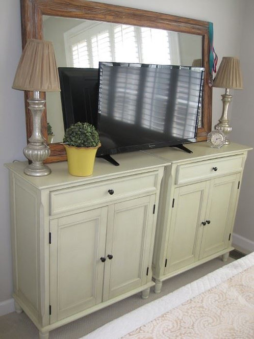 "$150 each, 30"" W x 34"" tall New 2 painted celery green cabinets contemporary"