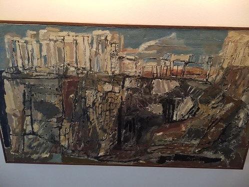"""36 x 20"""" Classic Ruins #2, oil, by Rudy Pozzatti, 1963"""
