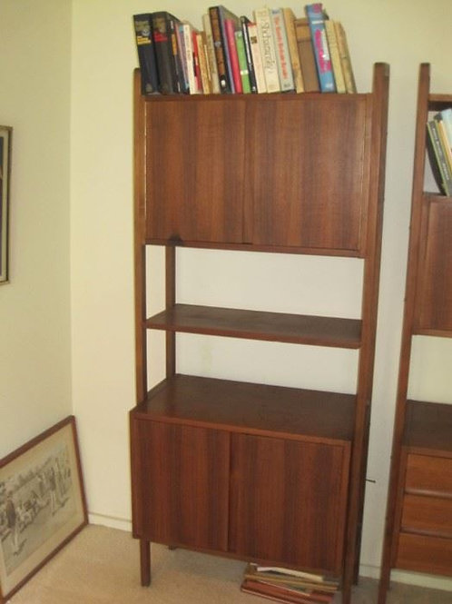 MCM Walnut Free Standing display cabinet VG, but does have water ring as shown