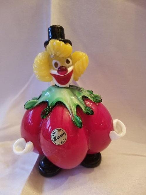 """Murano glass tomato clown , 8"""", Excellent condition"""