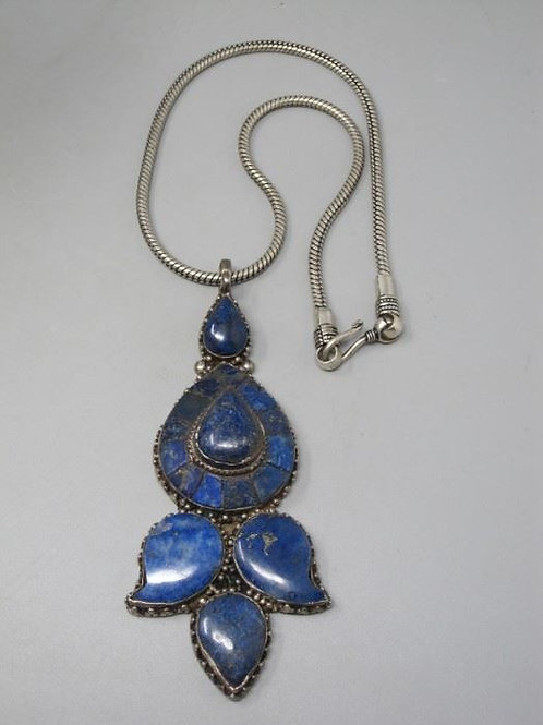 Chunky Blue Lapis & Sterling Necklace