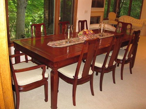 """Custom Solid Rosewood Diningroom set with 8 chairs & pads, 2 leaves 8' x 45"""""""