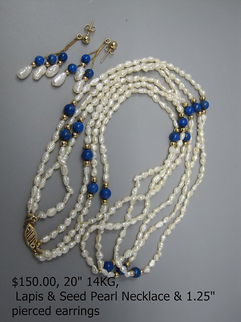 "20"" 14KG LAPIS AND SEED PEARL NECKLACE & 1.25 PIERCED EARRINGS"