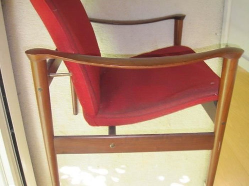 MCM Modern walnut floating arm chair filling upholstery has deteriorated wood VG