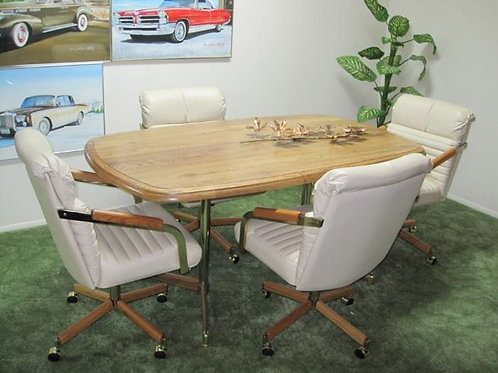 """Boyd table with leather rolling chairs 3' x 52"""" without a leaf, VG cond"""