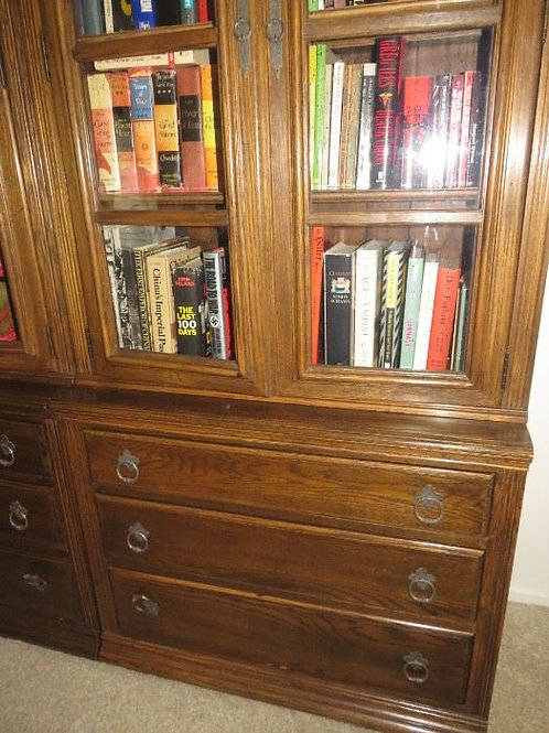 """Ethan Allen Solid Oak Royal Charter Collection, Glass, 3 drawer 34""""W x 13""""Dx80""""T"""