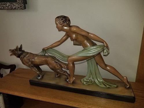 Art Deco German O.P. Nude Woman with German Sheperd 2.5'W, Chalkware, minor wear