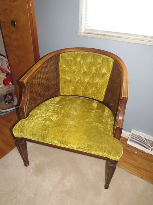 Green Velour chair Vg condition