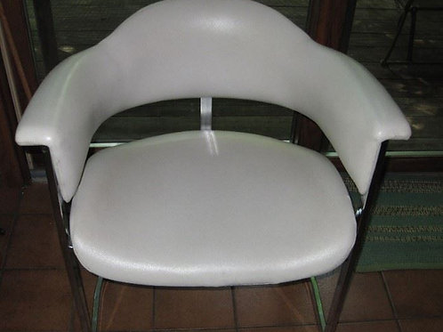 Milo Baughman White leather half lounge chair, excellent condition