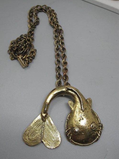 """Vintage Fish pendant, 24"""" chain & 3"""" pendant"""