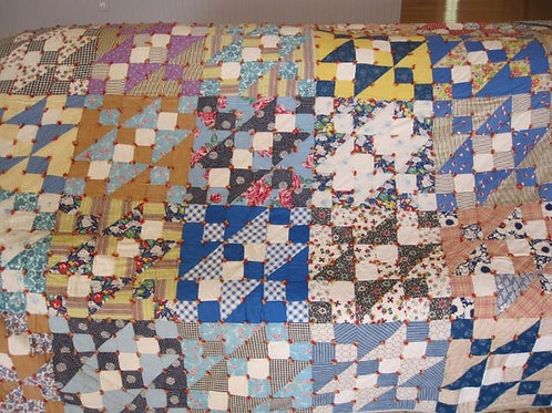 """Vintage Quilt, 68 x 84"""" hand tied, vg condition"""