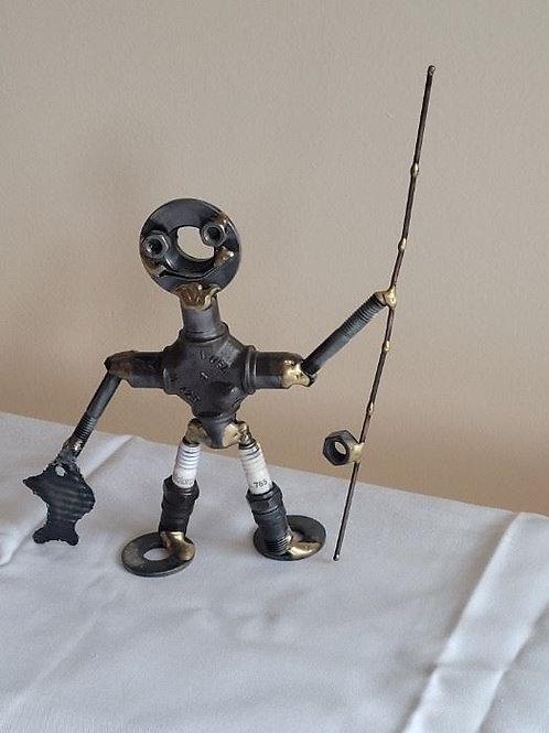 "Nuts & Bolts Industrial Metal Fisherman by Peterman - 7"""