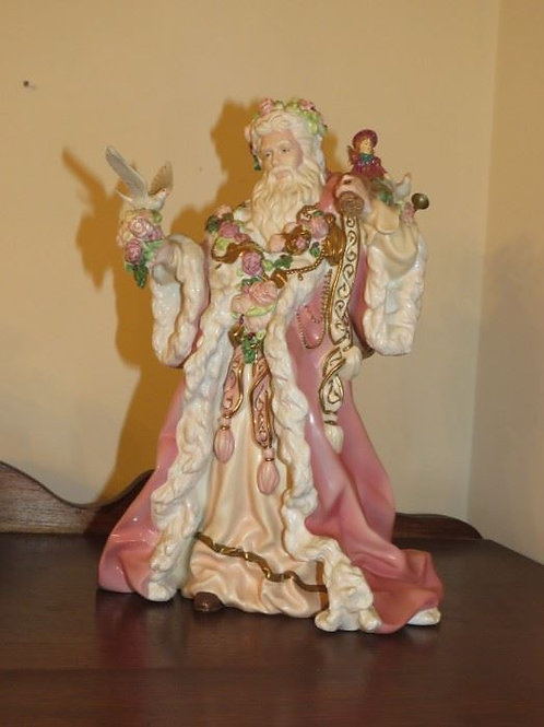 Pink + Gold Father Christmas Figurine by Alejandro Lemus Franklin Mint