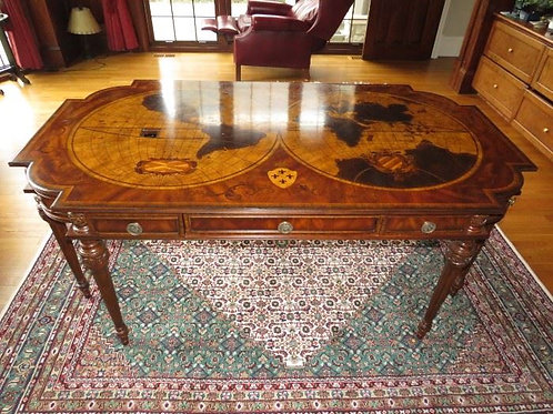 Maitland Smith Inlaid World Map Mahogany Executive Desk