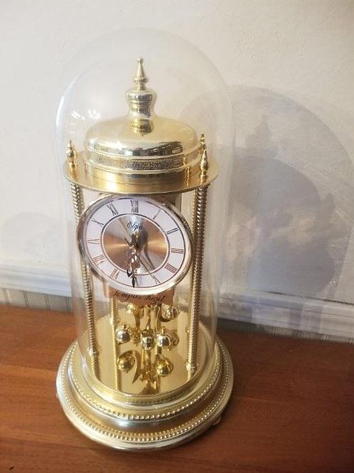 "16"", Elgin Tempus Fugit brass glass dome mantle clock"
