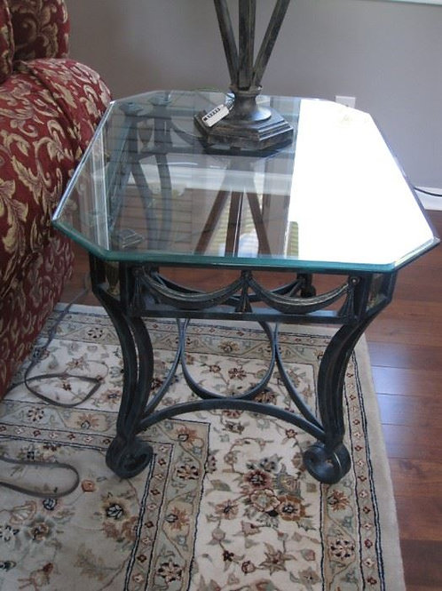 Heavy glass top iron table octagon glass
