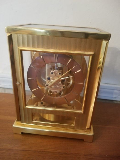 Le Coultre Modernist brass clock vg