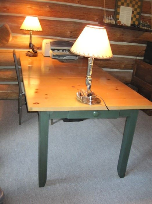 Pine table with drawer, 6'