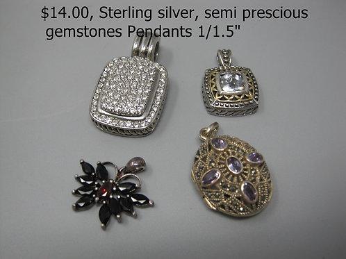 """Sterling Silver, Semi Precious Gemstone Pendant 1/1.5"""""""