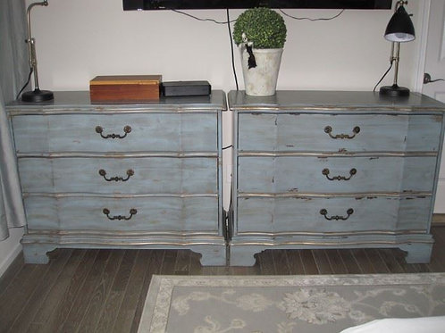 "$150.00 each, New distressed dressers bluish in color chest, 41"" wide x 35"" T"
