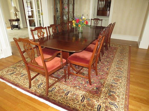 Antique Mahogany Drop Leaf Dining Room Table & Chairs