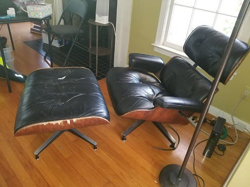 Early Herman Miller Lounge Chair black leather needs recovering, has cat damage