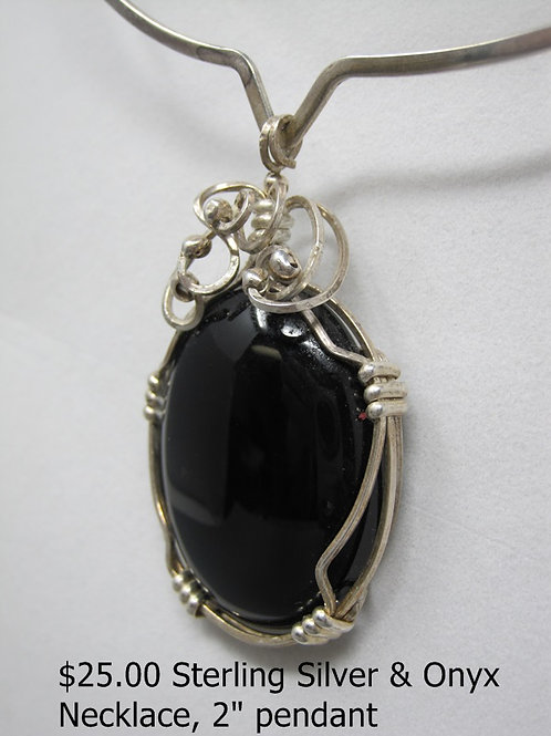 "STERLING SILVER AND ONYX NECKLACE 2"" PENDANT"