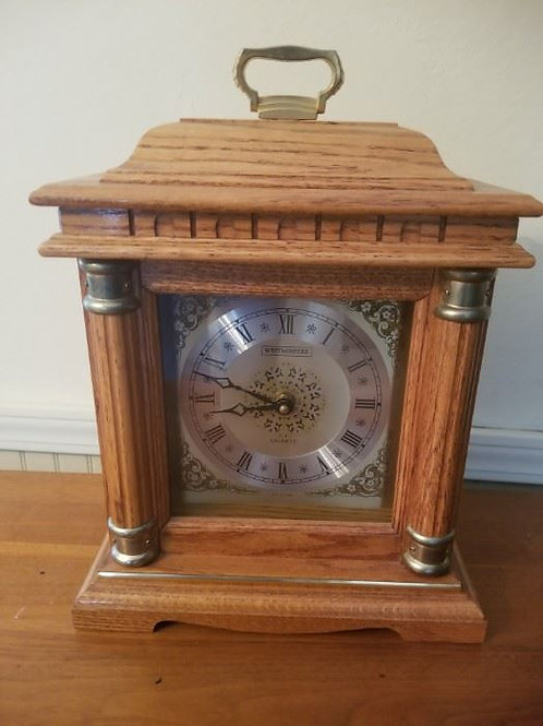 "Westminster table clock made in Taiwan 16"" tall very good condition"