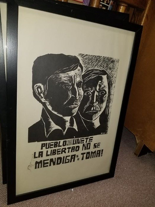1960s framed Mexican Political posters - Pueblo Unete