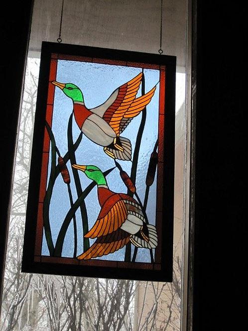 Stained Glass Mallard Duck appr. 3 x 4'