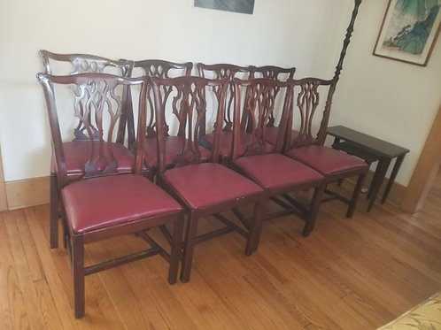 8 Mahogany Dining Room chairs. Structurally very sound Red vinyl seats Good Con.