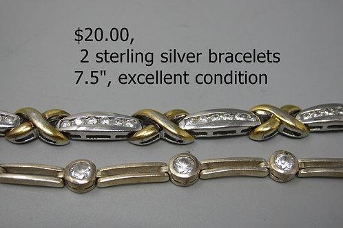 "2 Sterling silver bracelets, 7.5"" excellent condition"