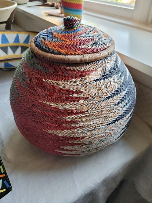 """African Telephone Wire Basket - 11"""""""